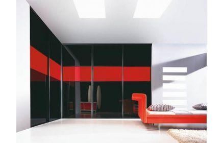 Купить Шкаф Вива встроенный угловой 5 дверей с черным крашеным стеклом под заказ