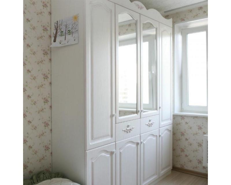 Шкаф Бриджит с зеркалом 8 дверей белый цвет