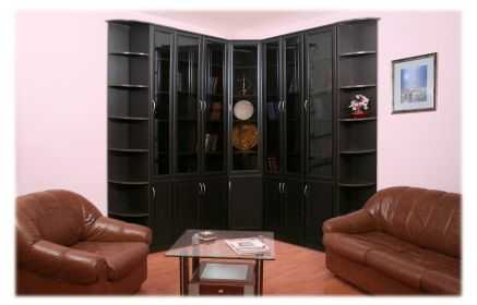 Купить Шкаф Горький шоколад угловой темное дерево 7 дверей со стеклом 14 полок под заказ