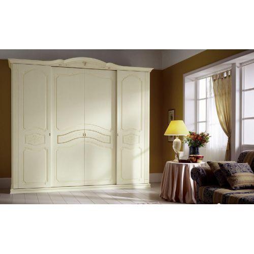 Шкаф Август 4 двери с узором белый цвет