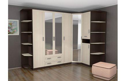 Купить Шкаф Нота угловой 4 двери из дерева 3 двери с зеркалом 3 ящика 10 полок белое и коричневое дерево под заказ