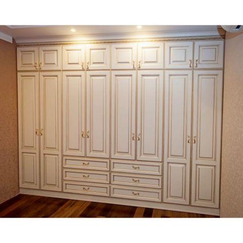 """Шкаф Услада 22 золотые ручки 16 дверей 6 выдвижных ящиков окрашено в белый дерево стиль """"Классика"""""""