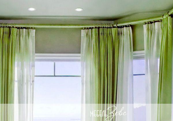 Кухня с эркером шторы