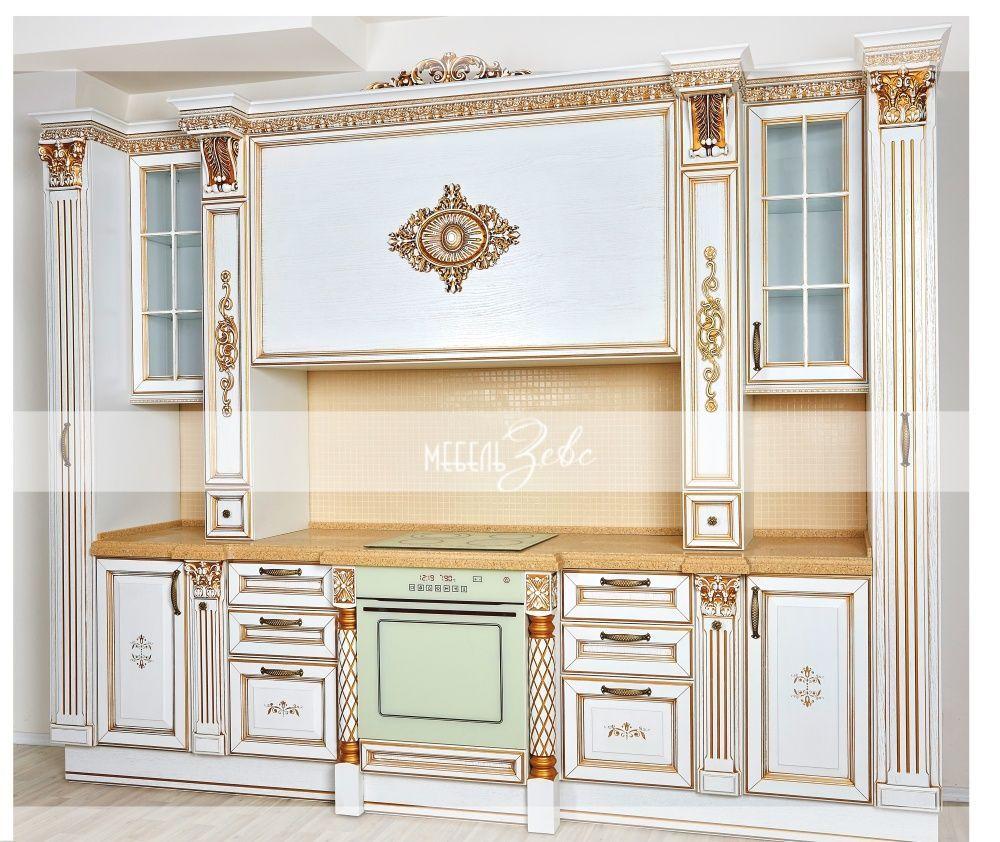 Кухня из массива белая с золотом