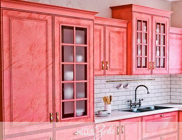 Розовая кухня из массива