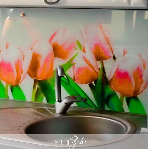 Зеркальный фартук для кухни скинали